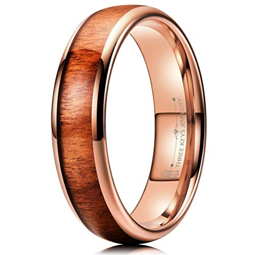(THREE KEYS JEWELRY 6mm Tungsten Carbide Wedding Ring for Women with Koa Wood Inlay Plated Rose Gold Domed Wedding Band Engagement Ring Comfort Fit Size 9)