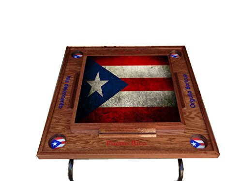 Puerto Rico Flag V Domino Table - Red Mahogany