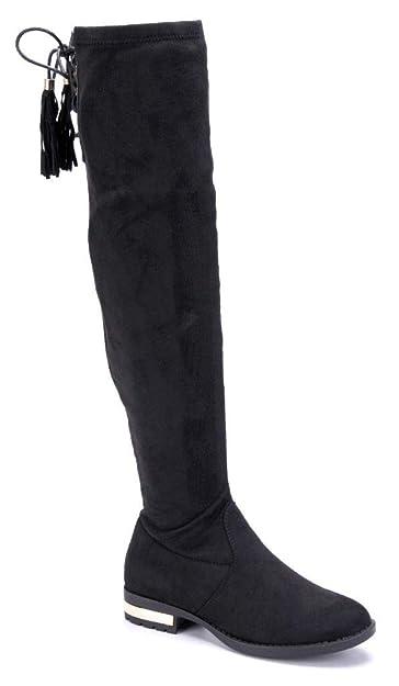 a60438f304efc2 Schuhtempel24 Damen Schuhe Overknee Stiefel Stiefeletten Boots Blockabsatz  Zierschleife 3 cm  Amazon.de  Schuhe   Handtaschen