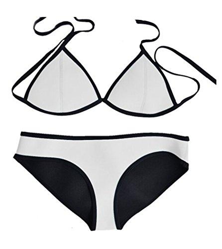 Jiehao Bright Diving Suit Push up Material Neoprene Bikini Set Swimsuit Swimwear (Small, White)