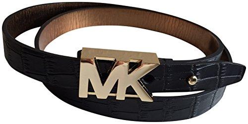 Michael Kors Womens Embossed Belt Black M