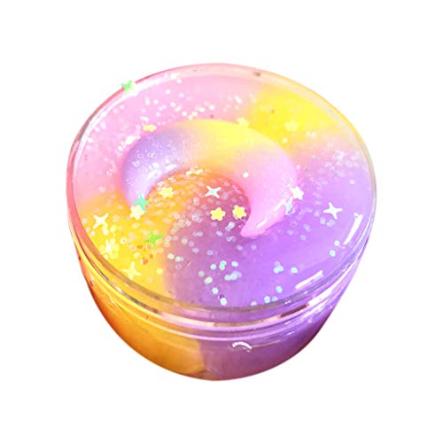 Naiflowers Butter Slime, DIY Fluffy Cloud Slime Sludge Non-Sticky Stretchy Moon & Star Mix Scented Ice Cream Mud Funny Toy Gift for Kids Boys Girls, Putty Charm Scent Clay Stress Relief Toy (A)