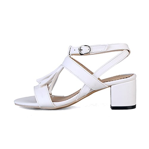 AdeeSu Womens Hollow Out Square Heels Pointed-Toe Urethane Sandals SLC03331 White HqQ5YW