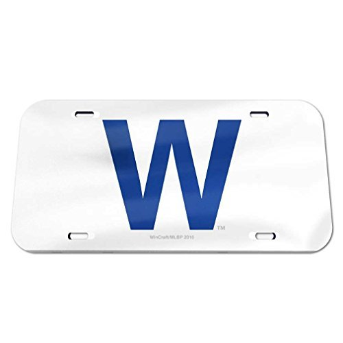 Chicago Cubs Logo Crystal - WinCraft MLB Chicago Cubs Crystal Mirror W Logo License Plate, Team Color, One Size