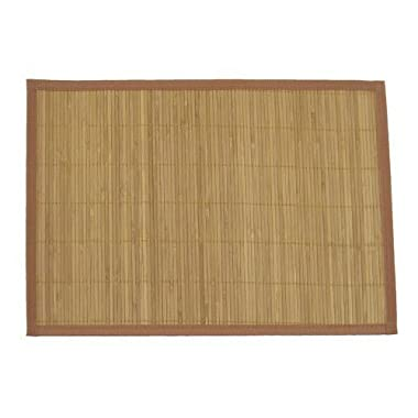 BambooMN Brand - Bamboo Slat Placemat with Brown Fabric Border, Carbonized Brown - 8pc