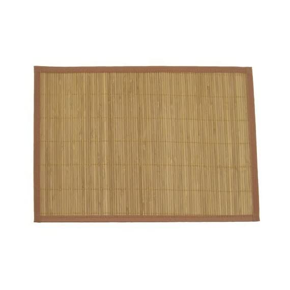 """BambooMN Brand - Bamboo Slat Placemat with Brown Fabric Border, Carbonized Brown - 8pc - Set of 8 bamboo placemats, as pictured. Each placemat measures approx 13"""" X 18.5"""" Bamboo is a highly renewable resource, and is ideal for kitchen products because it is natural, non-toxic, and durable. - placemats, kitchen-dining-room-table-linens, kitchen-dining-room - 41dH9Q 4U L. SS570  -"""