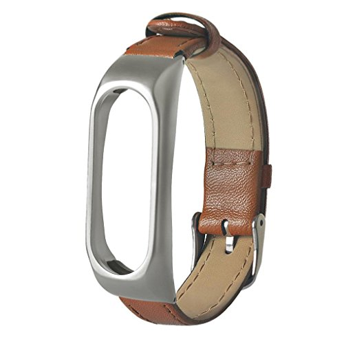 Price comparison product image CSSD New Business Lightweight Leather Smart Wrist Watch Strap For Xiaomi Miband 2 (Brown)