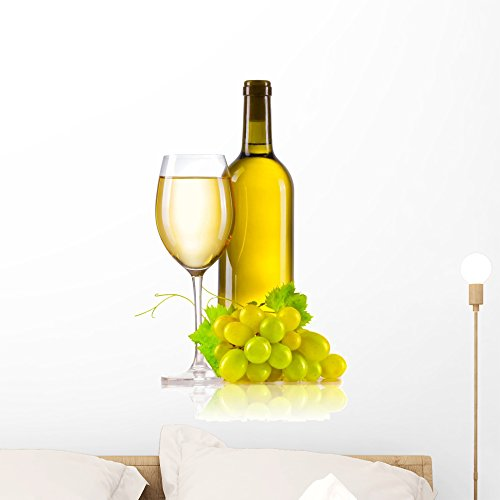 - Wallmonkeys Glass of White Wine with Bottle and Ripe Grapes Wall Decal Peel and Stick Graphic WM208133 (24 in H x 16 in W)