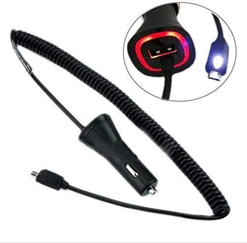 Touch LED MicroUSB Light Car Charger Works for Alcatel 3v with Quick 2.1A and Extra USB Port!