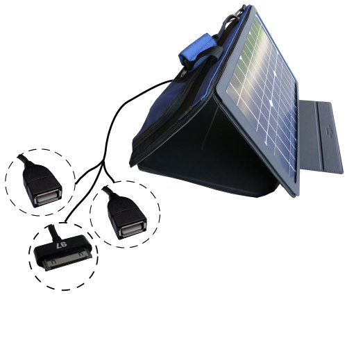 SunVolt MAX Solar Charger for Apple 30 pin devices (such as iphones & ipods) in addition to two other devices via included extra USB power ports; charge from sun at wall outlet-like speed by Gomadic