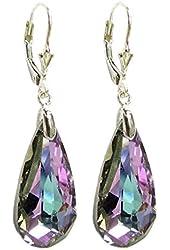Queenberry Vitrial Light Purple Swarovski Elements Crystal 925 Sterling Silver Leverback Dangle Earrings