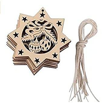 Abigael 10pcs Wooden Embellishments with String Christmas Decoration (F)