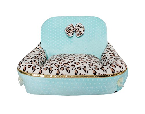 Freerun One-Side High-Back Leopard Print Dog Cat Pet Kennel House Bed Warm Winter Pet Supply (Blue, L)