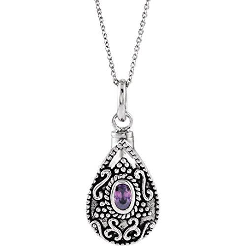 Bonyak Jewelry Sterling Silver February Birthstone Accented Tear Ash Holder 18