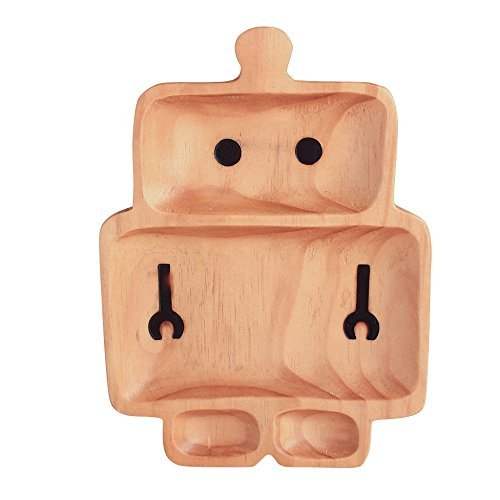 Time Concept Kids Petits Et Maman Wooden Robot Plate - Eco-Friendly, Handcrafted Dinnerware