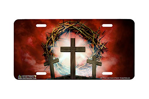 Airstrike Christian License Plate Three Cross Crown of Thorns Made in USA (Made of Metal)-449