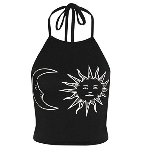 Toraway Underwear, Women Sun Moon Print Halter Bustier Tank Neck Tied Crop Top (X-Large, Black)