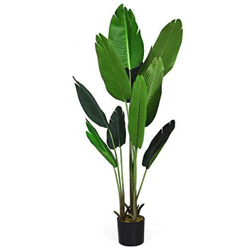 Goplus 5Ft Fake Banana Tree, Artificial Bird of Paradise Plant for Indoor Outdoor, Potted Greenery Plants for Home, Office, Lobby Decor