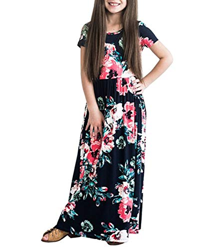 Jumper Low Pleated (Fashspo Maxi Dress for Girls Short Sleeve Pleated Casual Print Boho Floral Cotton Beach Long Dress with Pockets Black, 2-3T)
