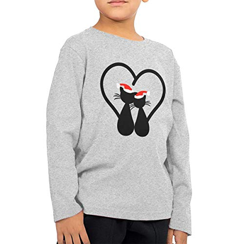 SARA NELL Christmas Black Cat Couple Toddler Baby Kids Long Sleeve T-Shirt Tee by SARA NELL