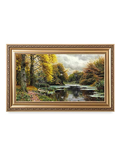 DECORARTS - River Landscape 1903, by Peder Mork Monsted Oil Painting Reproductions. Giclee Print Stretched Framed Size: -