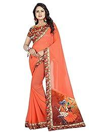 Shonaya Womens Fancy Chiffon Lace Border Saree Unstitched Blouse Piece (Orange)