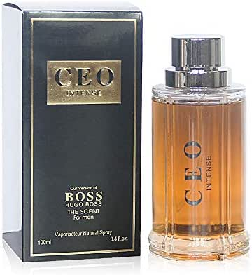 CEO INTENSE, Eau de Parfum Spray for Men, Perfect Gift, Seductive, Daytime and Casual Use, for all Skin Types, a Classic Bottle, 3.4 Fl Oz