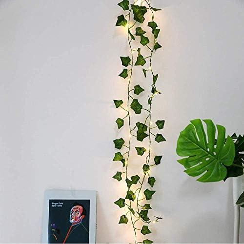 Ivy Lichterkette – 2 m 20 Efeu-Girlande LED Lichterkette Blätter Lichterkranz künstliche grüne Blätter Party Hochzeit Garten Dekoration Zimmer Innen