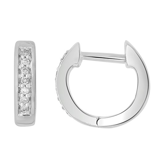 10k Gold Hoop Huggies Diamond Earrings (0.05ct, Color-IJ, Clarity-I2/I3) by EternalDia
