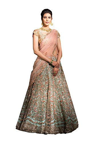 PinkCityCreations Indian Designer Partywear Ethnic Traditional Pista Green Lehenga Choli. by PinkCityCreations