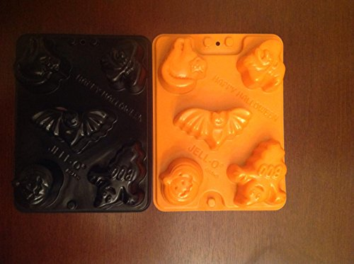 Halloween Jello Molds (set of 2) Cat Witch Bat Ghost & Pumpkin (Jello Jiggler Molds Halloween)