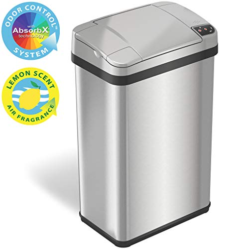 iTouchless 4 Gallon AbsorbX Odor Filter and Air Freshener, Stainless Steel Waste Bin for Bathroom, Bedroom and Office, 4 Gal, Sensor Trash Can, 04 Gallon