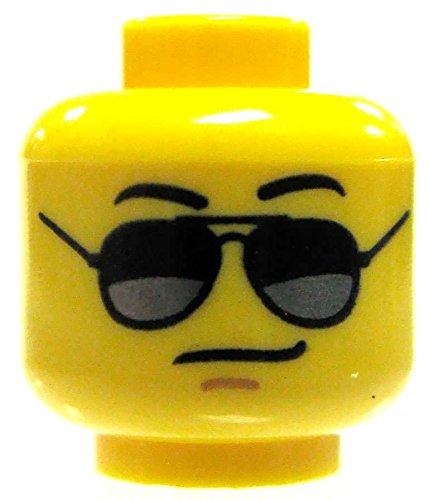 LEGO Minifigure Parts Yellow Male with Black Avator Sunglasses Minifigure Head - Of Part Sunglasses