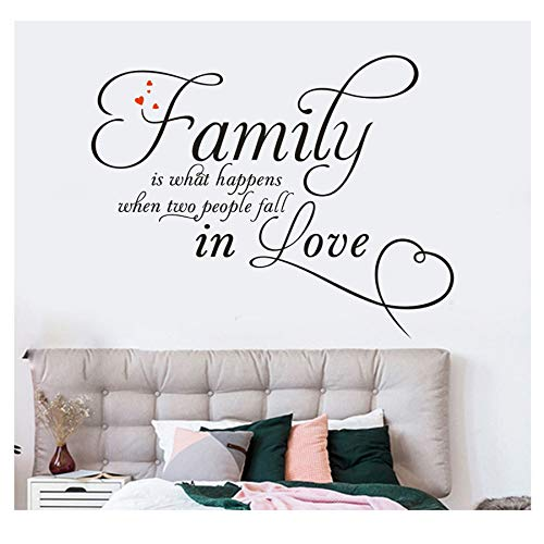 """Vinyl Floor Sticker - Falimy is What Happen When Two People Fall in Love, Waterproof PVC Bathroom Bedroom Decal, Self-Adhesive Peel and Stick Wall Sticker for Home Decor, 20.8""""x24.8"""" (Black)"""
