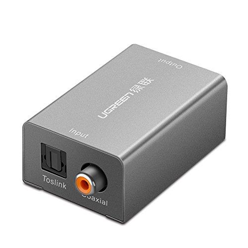 Audio Konverter Ugreen Toslink auf Aux Wandler Digital Toslink und Koaxial zu Analog 3.5mm aux Audio Digital zu Analog Audiowandler mit EU Netzteil