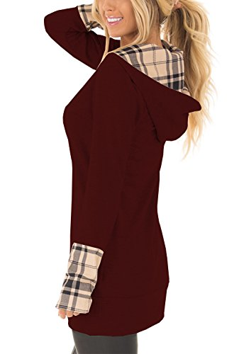 (Yingkis Women's Long Sleeve Plaid Hoodies Tunic Tops Button Cowl Neck Casual Slim Blouse,Wine Red)