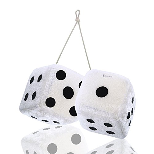 Zento Deals Pair of Hanging White with Black Dots Fuzzy Dices Nostalgic -