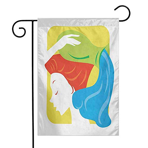 Mannwarehouse Zodiac Aquarius Garden Flag Contemporary Style Western Astrology Lady Ascendant Celestial Illustration Decorative Flags for Garden Yard Lawn W12 x L18 Multicolor