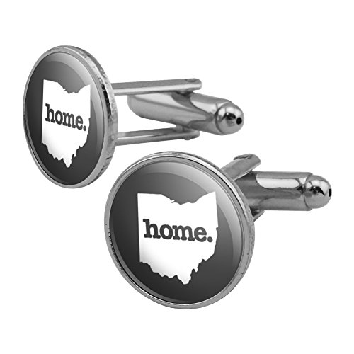 GRAPHICS & MORE Ohio OH Home State Solid Dark Gray Grey Officially Licensed Round Cufflink Set Silver Color