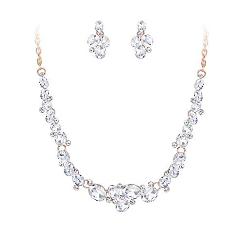 EVER FAITH Oval Austrian Crystal Prom Jewelry Gorgeous Bridal Necklace Earrings Set Clear (Gold Tone Oval Necklace)