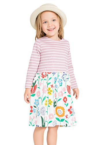 (Little Bitty girl printed flower casual toddler cotton long sleeve girl dress,Purple/Stripe,7-8)