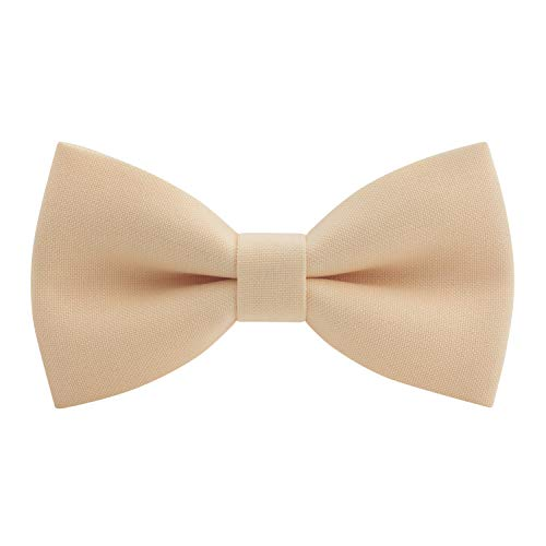 Classic Pre-Tied Bow Tie Formal Solid Tuxedo, by Bow Tie House (Small, Cream)