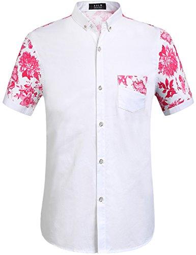 Large Flowered (SSLR Men's Flowered Regular Fit Short Sleeve Button Down Shirts (Large, White Fuchsia))