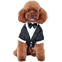 Kuoser Dog Shirt Puppy Pet Small Dog Clothes, Stylish Suit Bow Tie Costume, Wedding Shirt Formal Tuxedo with Black Tie…