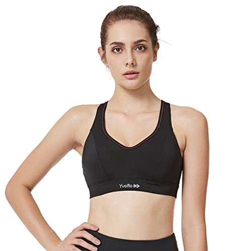 Yvette Women Criss Cross Back Medium Impcat No Bounce Wirefree Sports Bra for Large Bust, Black, L(DF)