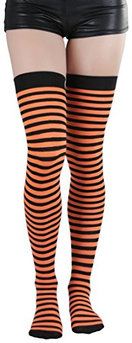 Orange And Pink Striped Tights (ToBeInStyle Women's Striped Thigh Hi - BLACK/ORANGE -)