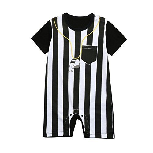 Vinjeely Newborn Toddler Baby Boys Girls Striped Soccer Referee Romper Jumpsuits 0-3Years Old (24M(12-24Month)) Black/White