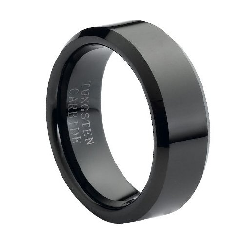 Tungsten Carbide High Polish Black Enamel Plated Beveled Edge 8mm Wedding Band Ring, 12 Size For Sale