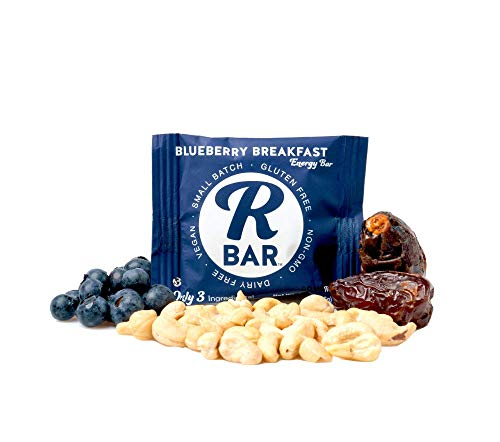 RBar Whole Food Plant Based Energy and Protein Bars- Soft Dairy & Gluten Free Snacks, Vegan Bar – 7 Ingredients or less (Blueberry Breakfast)