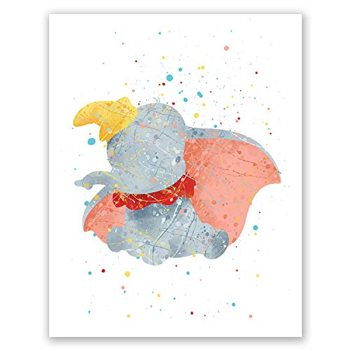 Dumbo Poster – Nursery Art – Elephant Baby Wall Art Decor – Movie Picture – Kids Bedroom Print – Animals Theme – Party Decoration (8x10) ()